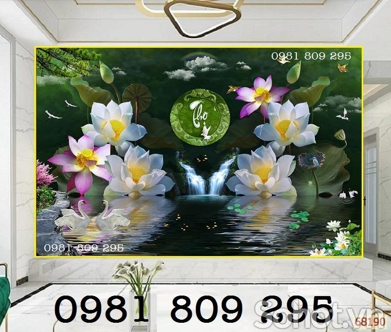 tranh gạch tại hồ chí minh - tranh hoa sen 3d