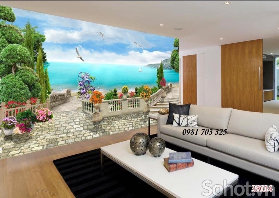 Tranh gạch men 3D phong cảnh phòng khách