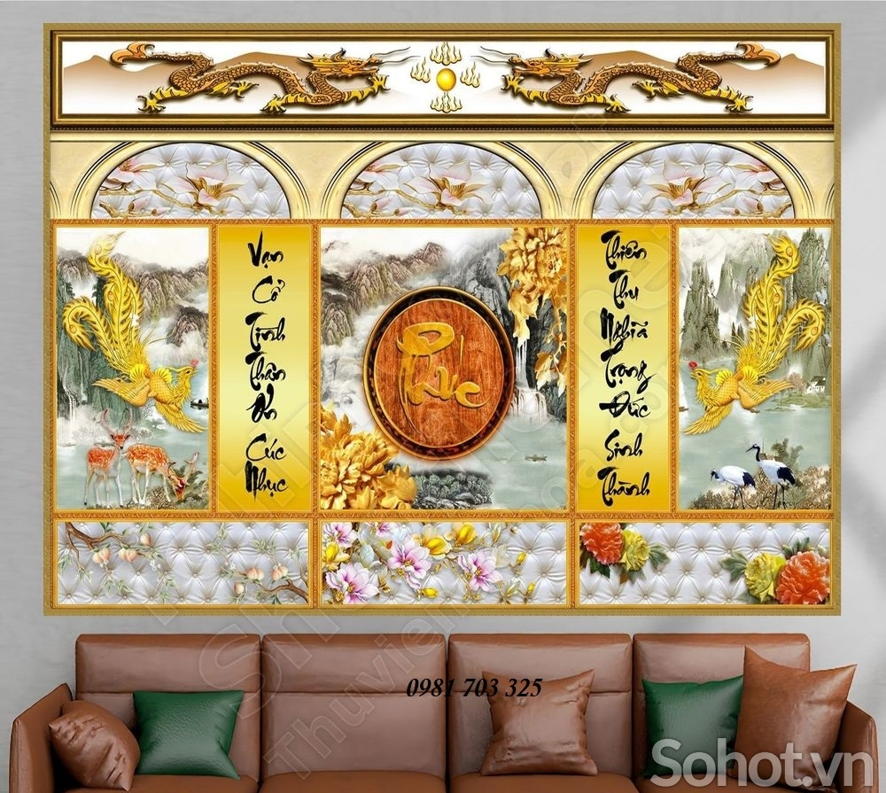 tranh gạch phòng thờ- tranh gạch men trang trí