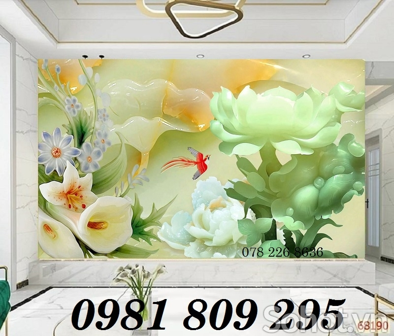 Tranh gạch men 3d hoa sen ngọc bích - gạch tranh