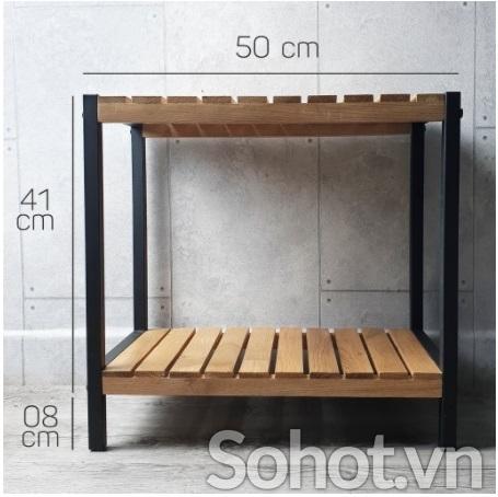 Kệ gỗ Sồi đa năng 2 tầng, khung sắt sơn tĩnh điện