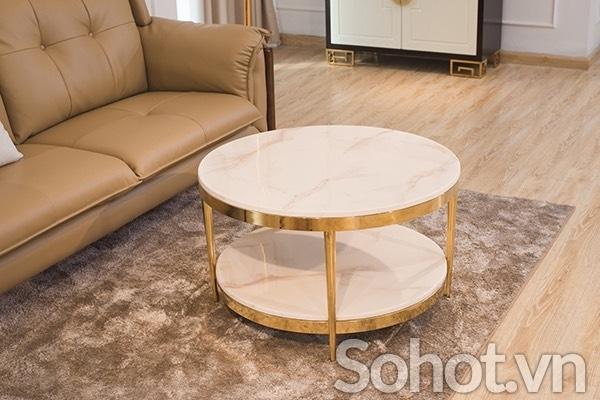 Bàn trà sofa 2 tầng inox mạ vàng pvd