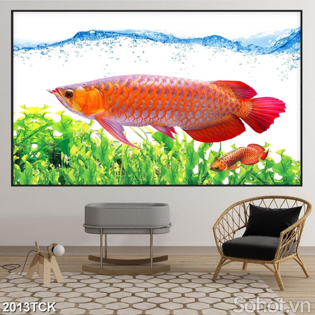 Tranh cá chép 3D trang trí nhà- Tranh gạch phong thuỷ