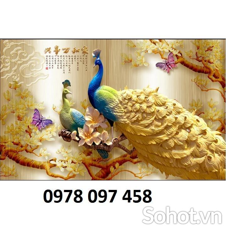 Tranh gạch 3d - tranh chim công