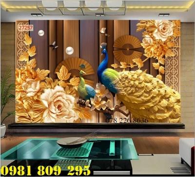 Chim công uyên ương - gạch tranh 3d ốp tường