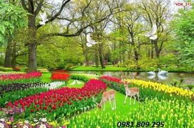 tranh gạch 3d vườn hoa công viên