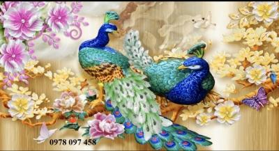 Gạch tranh chim công