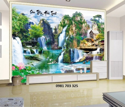 Tranh gạch phong cảnh- tranh 3D phòng khách