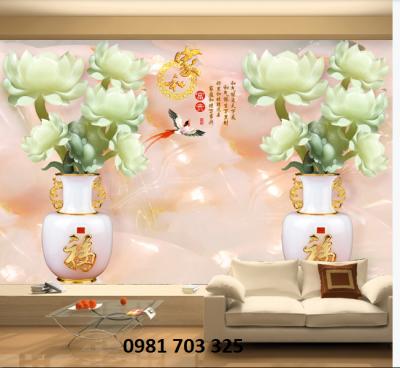 Tranh hoa mẫu đơn- gạch tranh phong thủy ốp tường