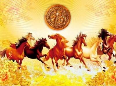 Tranh Mã Đáo Ngựa phi nước đại, Tranh gạch 3d cao cấp Phạm Gia