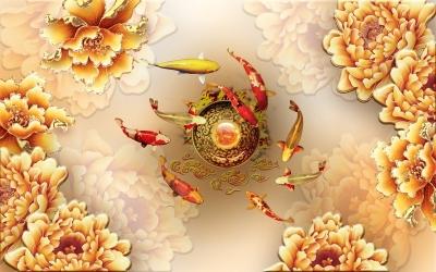 Tranh gạch 3d Cửu Ngư Hoa Mẫu Đơn