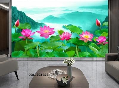 tranh 3D hoa sen tranng trí phòng- tranh gạch men đẹp