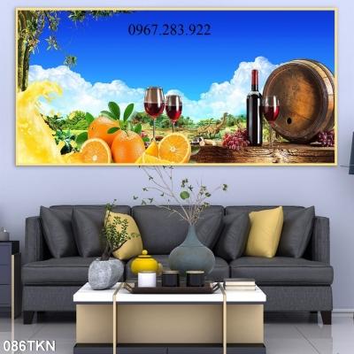 Tranh hoa tiết 3D hoa quả và chai rượu trang trí phòng bếp