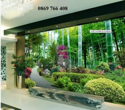 Tranh 3D vườn tre-gạch tranh 3D