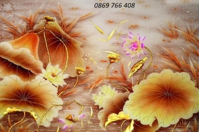 Tranh hoa sen trang trí-gạch tranh 3d