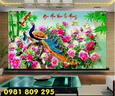 Gạch tranh chim công hoa ngọc 3d - tranh gạch 3d ốp tường cao cấp