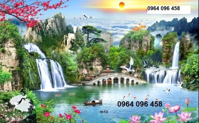 gạch tranh 3d phong cảnh sơn thủy- D23