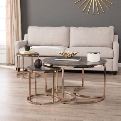 Bàn trà sofa mạ vàng hồng HX6