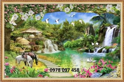 Tranh gạch - thanh thiên nhiên - tranh ốp tường