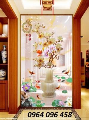Tranh bình hoa sứ ngọc - tranh gạch 3d bình hoa sứ ngọc - 676XL