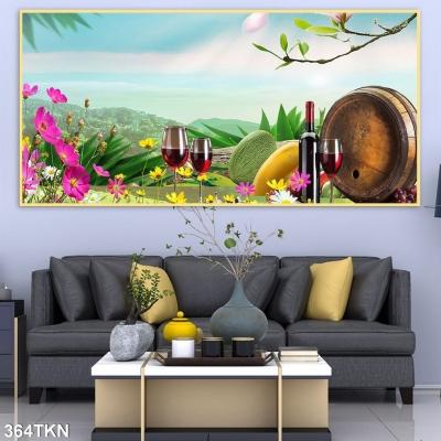 Tranh trang trí nhà bếp 3D- Tranh hoạ tiết hoa quả và rượu vang