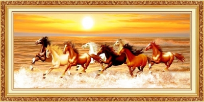 tranh gạch 3d 8 con ngựa - 54AK