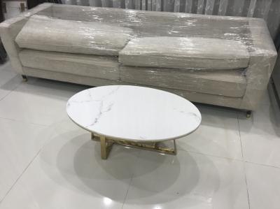 bàn trà oval inox mạ vàng PVD