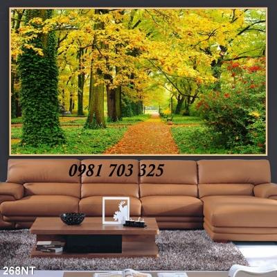 tranh gạch phong cảnh- tranh 3D lá vàng mùa thu
