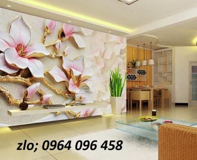 Mẫu tranh gạch 3d ốp tường hoa ngọc - 76CP
