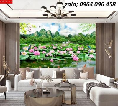 Tranh  hoa sen - tranh gạch 3d hoa sen - 543SP