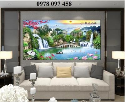 Tranh phong cảnh phòng khách- gạch men 3D