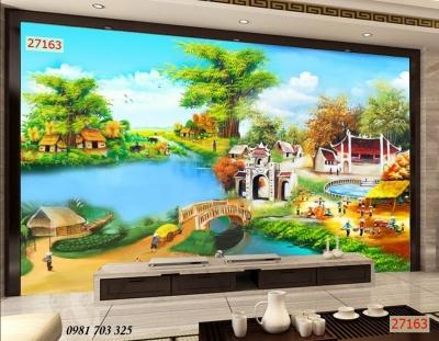 Tranh gạch 3D phòng khách- gạch tranh phong cảnh đồng quê