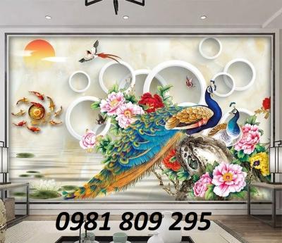 gạch tranh 3d chim công - tranh gạch ốp tường phòng khách