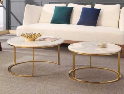 Bàn trà sofa đôi mạ vàng HX2B