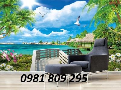 tranh 3d bờ biển cây dừa