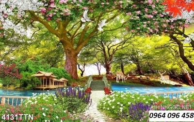 tranh gạch men 3d phong cảnh thiên nhiên đẹp - XMN6