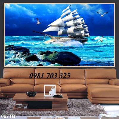 tranh gạch phong thủy thuyền buồm