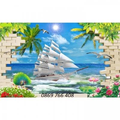 Tranh phong cảnh-gạch tranh thuyền và biển