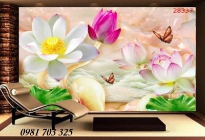 Tranh gạch 3D phòng khách- gạch tranh hoa sen ốp tường phòng khách