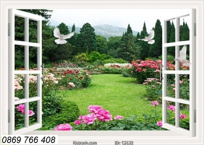 Tranh gạch-gạch tranh cửa sổ 3D
