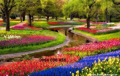 gạch tranh 3d vườn hoa