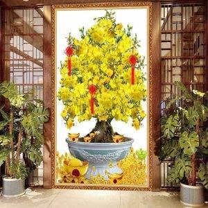 tranh mai vàng treo tường, tranh gạch men 3D