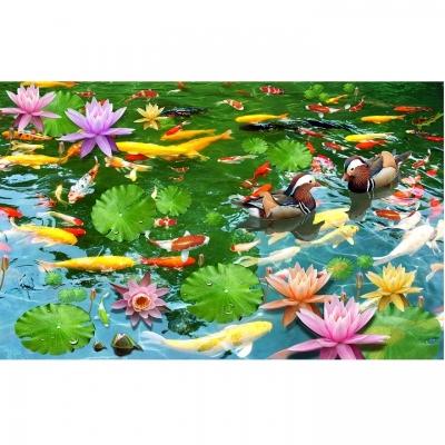 Tranh gạch cá chép hoa sen