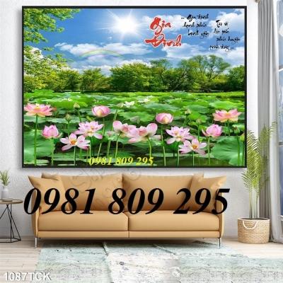 tranh hoa sen , gạch tranh 3d hoa sen