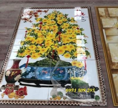 Tranh 3d hoa mai vàng- gạch tranh 3d