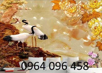 gạch tranh 3d chim công - A12
