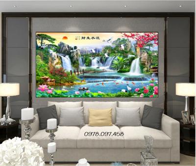 gạch tranh phong cảnh trang trí phòng khách mẫu HP12