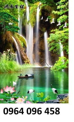 gạch tranh 3d phong cảnh thác nước - FK66