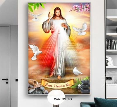Tranh gạch- gạch tranh 3D lòng thương xót chúa