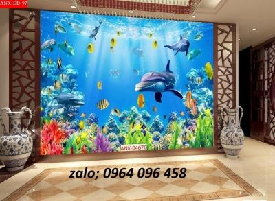 Tranh gạch 3d cá heo đại dương - HBV43